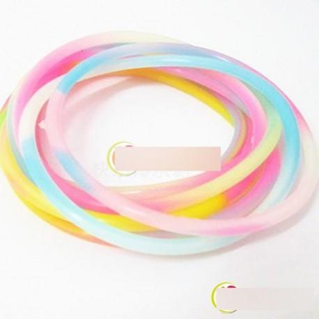 10db Elasztikus Gumi Szilicon Fluoreszkáló hajdísz