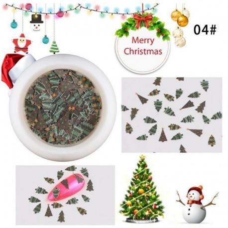 * 4 - Nail Art kézműves dísz karácsonyi fa hópehely Santa Design fa cellulóz szeletek dekoráció