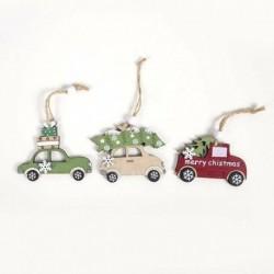 3db autó (6 * 8cm) - DIY 3D karácsonyfa fa medálok függő karácsonyi dekoráció otthoni party dekoráció