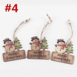 * 4 3db (6 * 7cm) - DIY 3D karácsonyfa fa medálok függő karácsonyi dekoráció otthoni party dekoráció