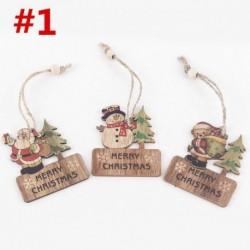 3db 6x7cm-es Boldog Karácsonyt feliratos - Hóember - Télapó - Mackó mintás fa dísz - Karácsonyi dekoráció - 1