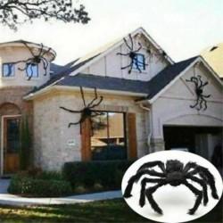Nincs szín - Fekete óriás pók Halloween dekoráció kísértetjárta ház prop beltéri szabadtéri party