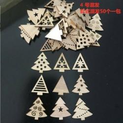* 4 vegyes - 50db fa karácsonyfa dísz fa függő medálok karácsonyi otthoni party dekoráció