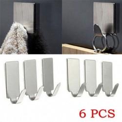 Nincs szín - 6PCS sok ragasztó konyhai fali ajtó rozsdamentes acélból készült bottartó kampós akasztó