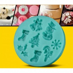 Kerek - Karácsonyi mintás szilikon csokoládéforma - fondant forma