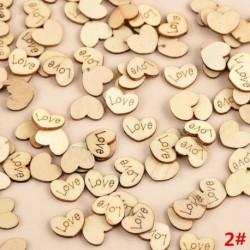 100db 15x12x2mm-es Szív alakú fa dísz - LOVE gravítozással - Ünnepi dísz - Karácsonyi dekoráció - 2