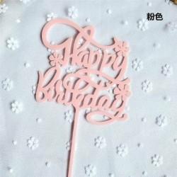 Happy Birthday - Rózsaszín színű egyszerűen beszúrható akril tortadísz - szülinapra
