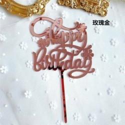 Happy Birthday - Rózsaarany színű egyszerűen beszúrható akril tortadísz - szülinapra