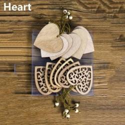 12db 13x6cm-es Szív alakú fa dísz - Karácsonyi dekoráció