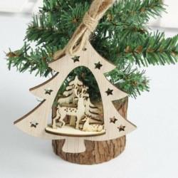 1db 10cm-es Karácsonyfa alakú fa dísz - Rénszarvas és Őzike mintával - Karácsonyi dekoráció