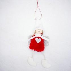 1db 10x20cm-es Piros ruhás angyal baba - Karácsonyi dekoráció - 15