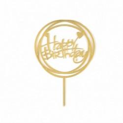 Happy Birthday - Arany színű kerek akril tortadísz szülinapra - 4
