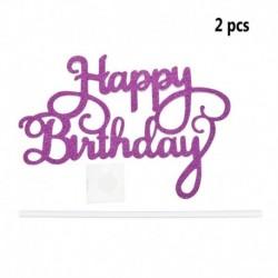 2db Happy Birthday - Sötét rózsaszín csillogó akril tortadísz szülinapra - 5