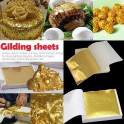 Nincs szín - 100 lepedő arany barkácsfólia levélpapír étel sütemény dekoráció ehető aranyozás kézműves