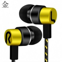 Sárga - Vezetékes fülhallgatós sztereó fejhallgató mikrofonnal és MIC Super Bass zenei fülhallgató fülhallgatóval ~