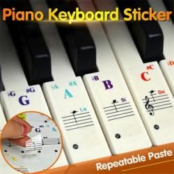 Nincs szín - Zongora billentyűzet matricák 49 61 76 88 billentyűzetekhez, cserélhető és átlátszó