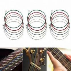 Nincs szín - Kiváló minőségű 6db acél szivárvány színes színes húrok akusztikus gitárhoz