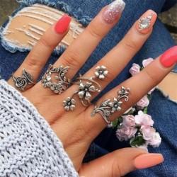 4db / Viráglevelek - 12db ezüst / arany Boho verem sima csülök felett Midi ujj gyűrűk készlet ajándék