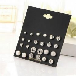 12 pár / ezüst szett - 24 pár divat női strasszos kristály gyöngy fülbevaló ékszer ajándék
