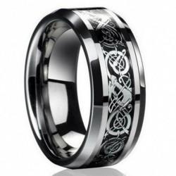 10. méret - Divat ezüst kelta sárkány titán rozsdamentes acél férfi esküvői zenekar gyűrűk