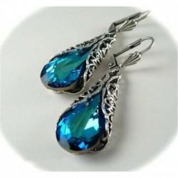 Nincs szín - Vintage 925 ezüst kék zafír drágakő csepp dangle esküvői eljegyzési fülbevalók
