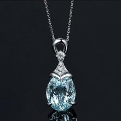 Nincs szín - Vintage drágakő ezüst természetes akvamarin ékszerek medál lánc nyaklánc új