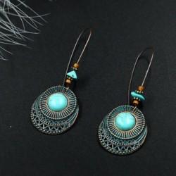 Nincs szín - Női antik 925 ezüst türkiz csepp dangle horog fülbevaló vintage ékszerek