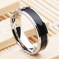 6 mm-es méret 12 - Divatékszer fekete titán szalag rozsdamentes acél gyűrű női nők számára 6-12 méret