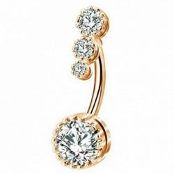 * 2 Arany - Ragyogjon köldök hasi gomb gyűrűk bár kristályvirág dangle test Piercing ékszerek