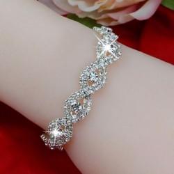 Nincs szín - Divat női kristály strasszos végtelen karperec karkötő ékszerek karácsonyi ajándék