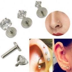 3mm - 16G drágakő kerek Tragus ajak gyűrű Monroe fülcsap fülbevaló test porc piercing