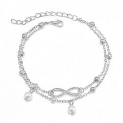 Ezüst - Női dupla boka karkötő 925 Ezüst Infinity Boka láb Strandlánc ékszer