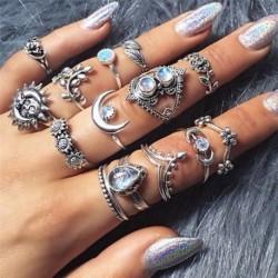 14db / készlet - 15db Boho verem sima felett csülök gyűrű Midi ujjhegy gyűrűk készlet ezüst / arany