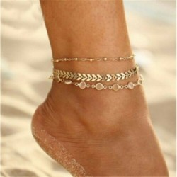 Arany - Egyesült Királyság női boka karkötő szett 925 galvanizált ezüst boka láblánc Boho tengerparti gyöngyök