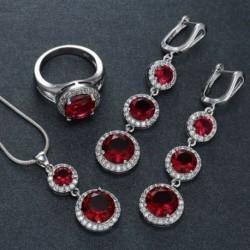 Piros (függő   fülbevaló   gyűrű) - Női strasszos 925 ezüst vízcsepp szív medál esküvői nyaklánc ékszer szett