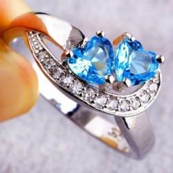 9 * - Divat női szív kék fehér drágakő ezüst gyűrű divat ékszer Sz 6 7 8 9