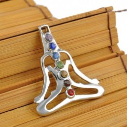 Jóga meditációs kristály - Természetes drágakő Reiki csakra gyógyító holdkereszt gyöngyök ezüst medál nyaklánc