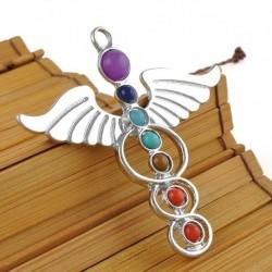 Szögszárny - Természetes drágakő Reiki csakra gyógyító holdkereszt gyöngyök ezüst medál nyaklánc
