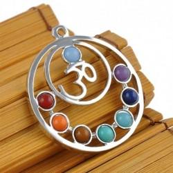 OM szimbólum - Természetes drágakő Reiki csakra gyógyító holdkereszt gyöngyök ezüst medál nyaklánc