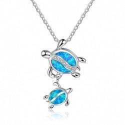 * 2 - 925 ezüst kék opál tengeri teknős kivágás medál pulóver lánc nyaklánc ékszer