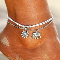 * 22 - UK női boka karkötő 925 ezüst boka láblánc Boho tengerparti gyöngyök ~