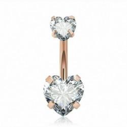 * 5 Arany - CZ súlyzó hasi gomb köldökgyűrű női kristályvirág testpiercing ékszerek