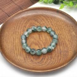 Nincs szín - 10mm 100%  -ban természetes, zöld színű drágakő gyöngyök Jade Jadeite karkötő 7,5 &quot