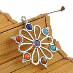 Virág - Természetes 7 drágakő gyöngy Reiki csakra gyógyító pont medál nyaklánc ajándékhoz