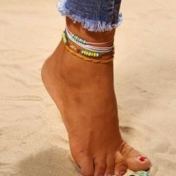 Nincs szín - 4db / Színes kötél Boho bokalánc karkötő gyöngy nyári szörfös strandröplabda