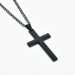 Elegáns nyaklánc fekete színű kereszt fém medállal