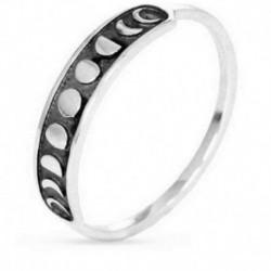 8. - Vintage kézzel készített ezüst holdfázisú ujjgyűrű Holdszalag ékszerek 7-9 méretben