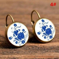 4 * - Divat női fülbevalók üveg kerek virág fül Stud ékszerek Vintage Retro ajándék