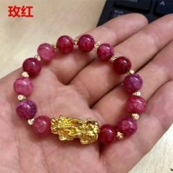 * 9 - Feng Shui fekete obszidián ötvözet vagyon karkötő arany Pixiu szerencsés ékszer ajándékkal