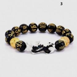 * 3 - Feng Shui fekete obszidián gyöngy ezüst Pi Xiu vagyon karkötő Szerencsés ékszer USA